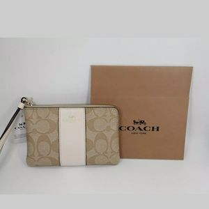 COACH Corner Zip Wristlet Wallet PVC Leather